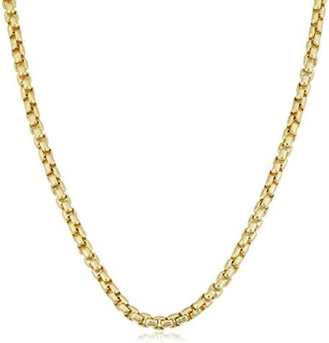 14k REAL Yellow or White SOLID Gold 1.35mm, 1.7mm, 2.3mm, 3.4mm Shiny Round-Box Chain Necklace for Pendants and Charms with Lobster Claw Clasp ( Men and Womens Chains ) (16