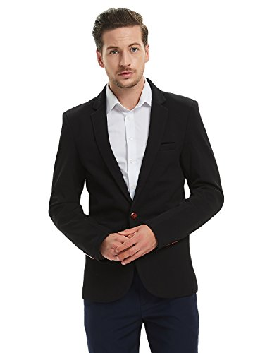 Pishon Men's Slim Fit Suits Casual One Button Flap Pockets Solid Blazer Jacket Business Daily Blazer, Black, XX-Large