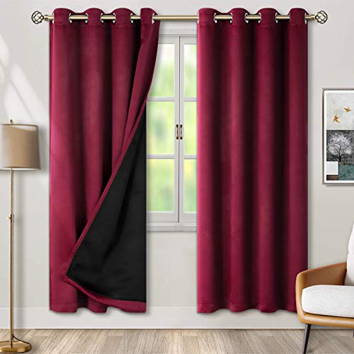 BGment Thermal Insulated 100% Blackout Curtains for Bedroom with Black Liner, Double Layer Full Room Darkening Noise Reducing Grommet Curtain ( 52 x 84 Inch, Burgundy Red, 2 Panels )