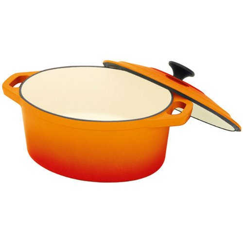 Chasseur Cast Iron 6-quart Oval French Casserole Pot with Lid, Orange Flame Chasseur Cast Iron Casserole