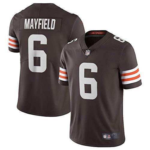 ZQN T-Shirt Jersey, Männer Fußball-T-Shirt Jersey, Cleveland Browns 6# Baker Mayfield Gestickte Fußball-Sport Jersey Short Sleeve Top,A,XL