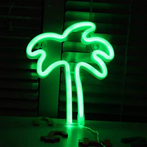 Palm Tree Shaped Neon Night Light Green Neon Signs USB & Battery Powered Hanging Wedding Sign Novelty Wall Decorative Neon Signs for Birthday Christmas Party Kids Room Living Room Bedroom