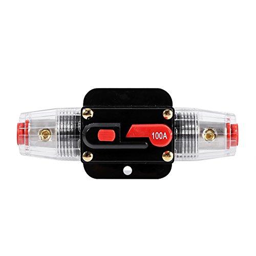 Keenso 12V-24V 50A 60A 80A 100A Portafusibles de Disyuntor Impermeable Restablecer de Barco para protección del sistema(100A)