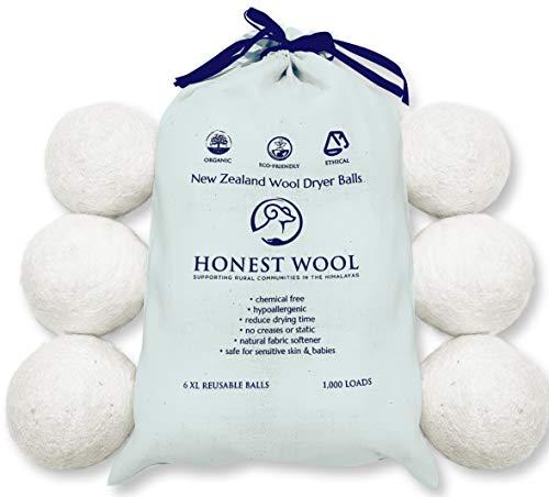 Honest Wool 100% Ethical Organic Wool - Bolas para secadora (6 unidades, tamaño XL, reutilizables)