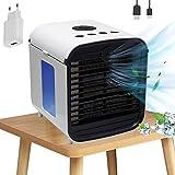 Air Mini Cooler Aire Acondicionado Portátil, Nifogo 3 en 1 Climatizador Evaporativo Frio Ventilador Humidificador Purificador de Aire, Leakproof, Nuevo Filtros (New+Adaptador)