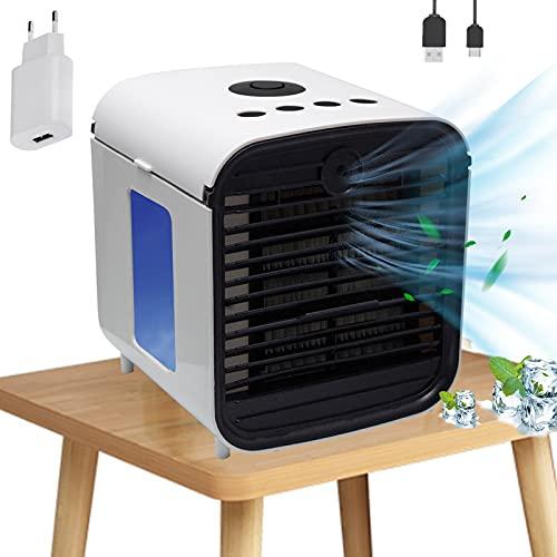 Climatiseur Mobile Air Mini Cooler, Nifogo 3 en 1 Rafraichisseur d'air Ventilateur, Portable Climatiseur, Humidificateur Purificateur, Anti-Fuites, New Filtre (Adaptateur)