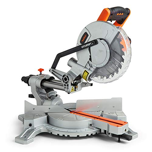 """VonHaus Sliding Mitre Saw 1500W 8"""" (210mm) – Sliding Side Support Bars for Wide Work Pieces – Powerful Performance with +45°/-45° Mitre Cuts – Easily Cuts Through Woods & Plastics with Laser Guide"""