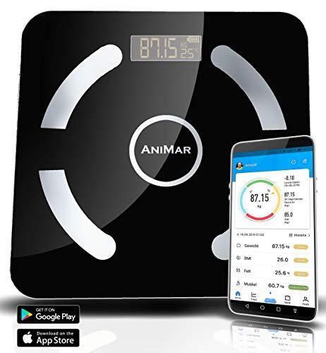 Digitale weegschaal voor lichaamsvetten, bluetooth, tot 180 kg, gratis app in het Duits, 12 belangrijke gegevens zoals water, spieren, botten, visceraal vet, BMI enz. Apple & Android mit Ring zwart
