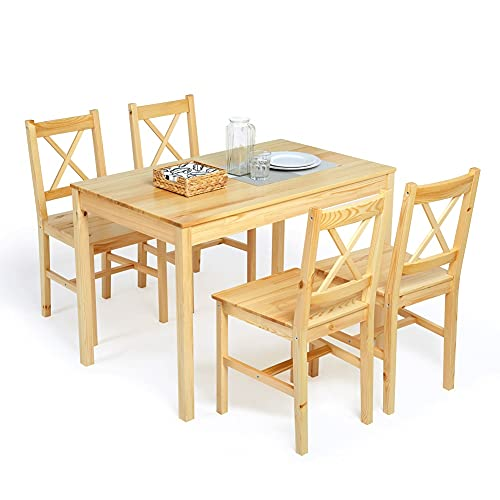 Meerveil Dining Table and Chairs Set 4, Dining Room Sets Solid Pine Wood Classic Style for Dining Kitchen Home, 108 x 65 x 73 cm (Natural Wood)