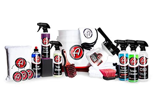 Adam's Arsenal Builder 21 Item Car Wash Kit - Detailing & Cleaning Kit W/ Foam Gun Wash Soap Car Wax Glass Window Cleaner Tire & Wheel Cleaner Interior Cleaner Towels Tire Shine