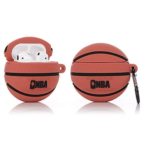 Basketball Airpods Case Cover with Keychain Soft Silicone 3D Cute Funny Fun Cartoon AirPods Charging Case Fashion Stylish Cool Sports Skin Compatible with AirPod 1&2