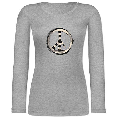Shirtracer Statement - Zielscheibe Frieden - Target Peace - XXL - Grau meliert - Erde - BCTW071 - Langarmshirt Damen