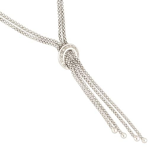 Jollys Jewellers Collar para mujer de oro blanco de 9 quilates de 17 pulgadas de 0,10 quilates con diamantes de cola de zorro Lariat (3 mm de ancho) | Collar único para mujer