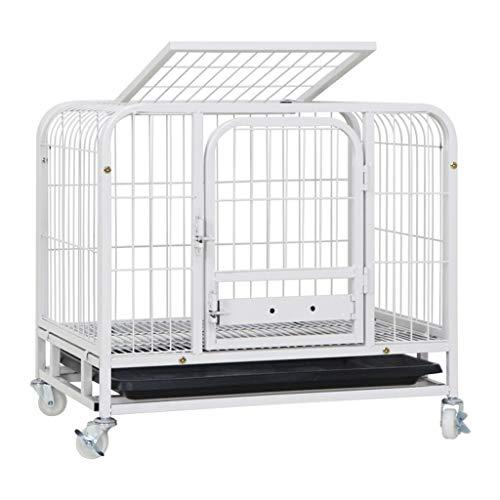 lejia Hundekisten Hundebox Hundekäfig mit Tray - Single Tür Doppeltür aus Metall Hundebox mit Rollen, 24L x 18W x 23H Zoll Pet Crate Kennel Zwinger