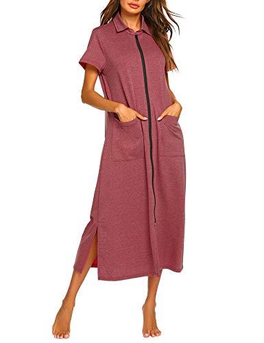 Ekouaer Women Zipper Robe Short Sleeve Loungewear Full Length Nightgown Duster Housecoat with Pockets Wine Red