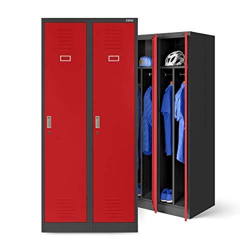 Stahlspind Garderobenschrank Spind Kleiderspind Doppelspind 2 Abteile Flügeltüren Trennwand Pulverbeschichtung 180 cm x 80 cm x 50 cm(H x B x T) (anthrazit/rot)
