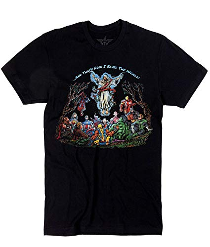 and That's How I Saved The World - Ascension Jesus DC Marvel Superheroes (Adult L) Black