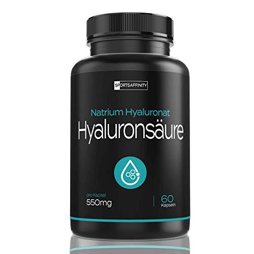 Hyaluronsäure Kapseln - Hochdosiert mit 550 mg Hyaloronsäure pro Tagesdosis | 500-700 kDa | Für Männer & Frauen - Natürlich, Hyaluron, vegan und hergestellt in Deutschland