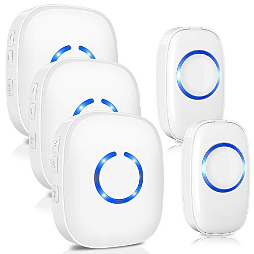 Drahtlose Funkklingel Set, ELEPOWSTAR IP55 Wasserdicht Kabellose Türklingel, Wireless Doorbell, Tür Klingel für Haus/Büro/Garten (2 Sender & 3 Empfänger weiß)