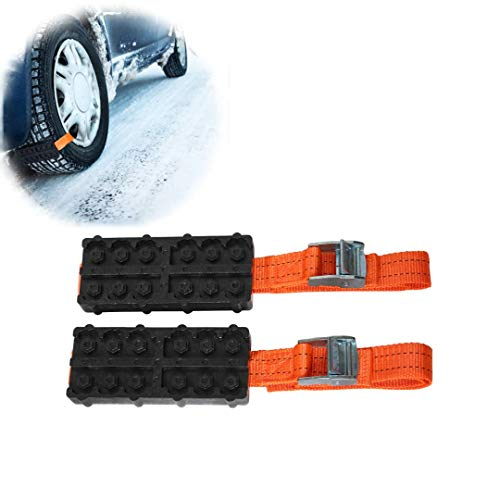 ASMSW Anti-Skid Car Tire Traction Blocks Emergency Snow Mud Sand Tire Chain Straps with Carry Bag-2Pcs