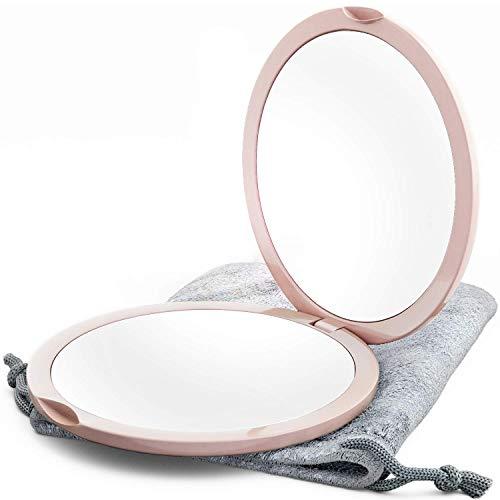 Espejo Compacto con Aumento 1X/10X Espejo de Maquillaje de Doble Cara, Espejo de Bolsillo Pequeño, Espejo de Bolsillo Pequeño o Espejo de Monedero (Rosa)