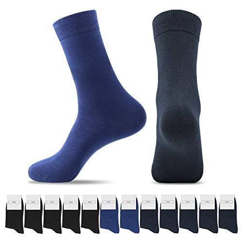 Smart Sir Socken Herren Damen 12 paar Unisex Socken Business Komfortbund Lange Baumwoll Socken (Schwarz+Marine+Marineblau*12+43-46)