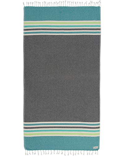 Sand Cloud Turkish Towel - Peshtemal Cotton - Great for Beach or as a Blanket - Chains (Black)