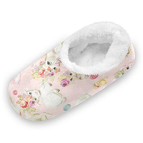 TropicalLife LUCKYEAH Hausschuhe für Damen und Herren, niedliches Tier, Hund, Kaninchen, Blume, Hausschuhe, bequem, warm, Memory-Schaum, Plüsch-Hausschuhe für drinnen und draußen, Haus Schlafzimmer,