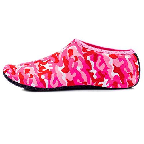 JIASUQI Little Kids Leichte Sport Wasserschuhe Socken Für Pool Sand Schwimmen Aerobic Rot Camou, 33/34 EU