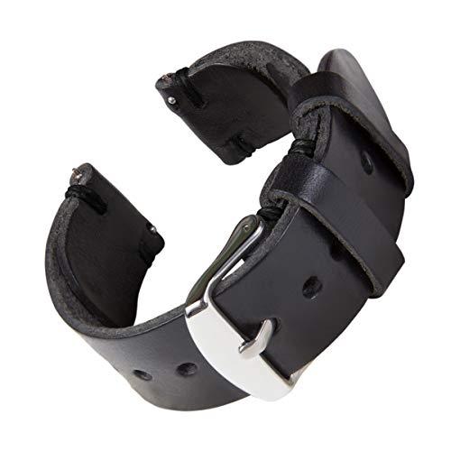 Archer Watch Straps - Handgefertigtes Horween-Lederarmband aus echtem Leder mit Schnellverschluss (Schwarz/Schwarzer Faden, 20mm)