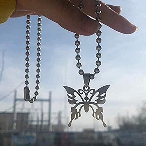 WJZB Style Papillon Collier en Acier Inoxydable Grande chaîne à Billes Harajuku Symbole féminin Punk Gothique Streetwear Collier Ras du Cou pour