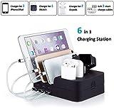 SAQICO 6 Port USB Multiple Devices Desktop Chargeing Station USB Charging Dock Station