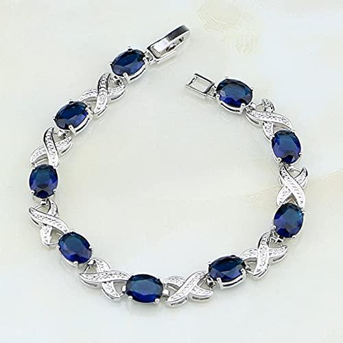 WLLLTY Pulsera para Mujer 925 Joyas de Plata esterlina Circón Azul Pulsera con dijes de Cadena Blanca