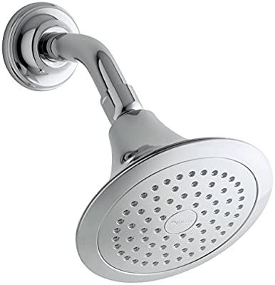 KOHLER 10282-AK-CP Forte 2.5 GPM Single-Function Wall-Mount Showerhead with Katalyst Spray, Polished Chrome (Renewed)