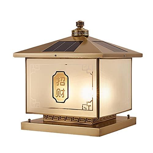 Threesome Luz de Poste Solar, lámpara de Paisaje Tapa de Cubierta de césped Luz de Cerca Solar Hecha de Material de latón y Vidrio