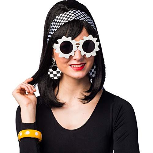 Amakando Auffälliges 60s Retro Zubehör-Set mit Haarband, Sonnenbrille, Armreif & Ohrschmuck / Weiß-Schwarz & Gelb / Rockabilly Schmuck-Set Pin-Up-Style / Passend zu Karneval & Themenabend