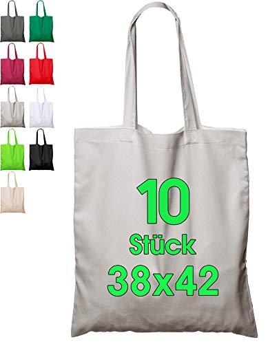 Baumwolltaschen GRAU (10 Stück in 38x42) ORIGINAL ELES VIDA - ÖKO-TEX® geprüfte Markentasche, Lange Henkel, Jutebeutel, JuteStoffbeutel, Einkaufstasche, Stoff Taschen aus 100% Baumwollstoff