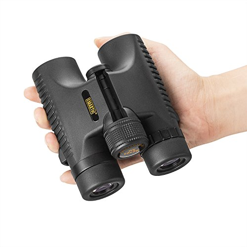 EMARTH 10x26 Fernglas - leichtes Binocular mit 10 - fach Vergrößerung und 26mm Objektiv. Wasserfestes, faltbares Weitwinkel-Fernglas - Schwarz
