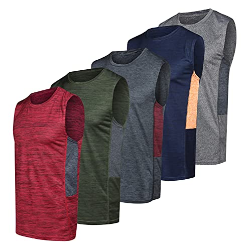 Men's Quick Dry Fit Dri-Fit Jersey Sleeveless Tank Top Muscle Yoga Active Performance Sport Basketball Beach Gym Workout Running Fitness Athletic Bodybuilding Undershirt -Set 4,XL