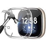 KIMILAR Funda Compatible con Fitbit Versa 3 / Fitbit Sense Funda [2 piezas], Protectora de Pantalla Completa TPU de Vidrio Templado Protector Funda Para Versa 3 / Sense Smartwatch Cubierta