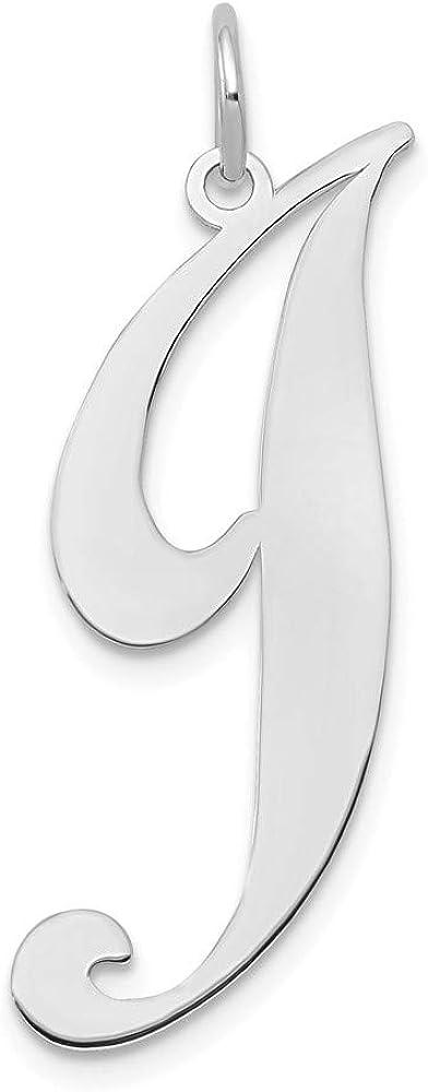 Solid 14k White Gold Large Unique Script Initial Letter J Alphabet Charm Pendant 22mm