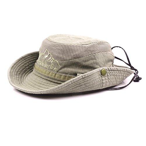 Charmylo Baumwolle Sonnenhut Herren Sommerhut UV Schutz Wanderhut Fischerhut Trekking Faltbar SafariHut mit Kinnband Outdoor Buschhut Hiking Bucket Hat (Khaki)