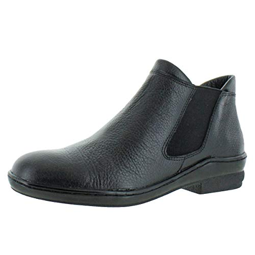 David Tate Women's London Pebbled Leather Slip On Ankle Bootie Black Size 6