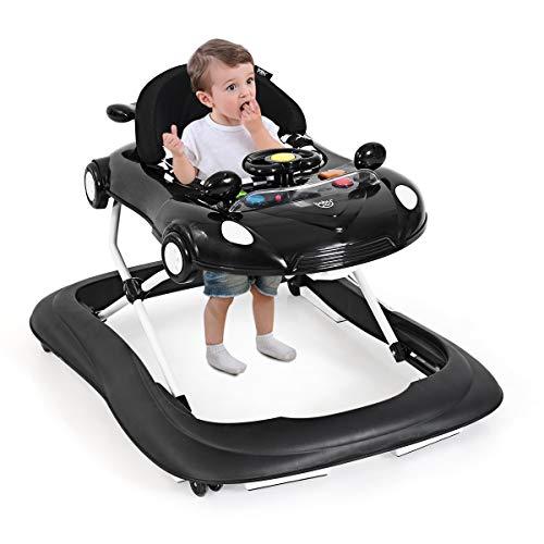 RELAX4LIFE Lauflernhilfe höhenverstellbar, Lauflernwagen mit 4 Rädern & abnehmbarer Tischplatte, Laufwagen klappbar, autoförmige Laufhilfe mit Musik & Licht, für Babys von 6-18 Monate (Schwarz)