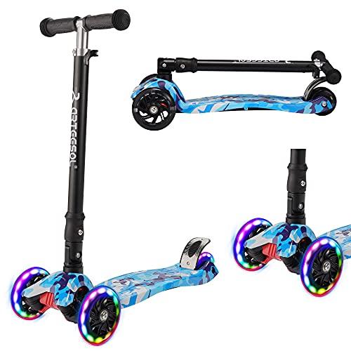 arteesol Kinder Scooter Roller, kinderroller ab 3 Jahre für Mädchen und Jungen, Faltbarer Kinderroller 3 Räder mit LED-Blitzräder, Höhenverstellbar Dreiradscooter Graffiti