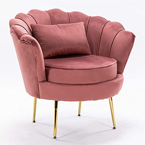 CXQD Einzelne Wohnzimmer Samt Wanne Sessel Mit Kleinem Kissen Metall Bein Armlehnen Sofa Stuhl Lounge Accent Stühle Armstühle