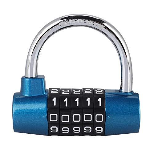 Tipo de herradura en forma de U Candado de contraseña de cinco dígitos, Maleta al aire libre Maleta Puerta Mochila Cerradura de contraseña(Blue)