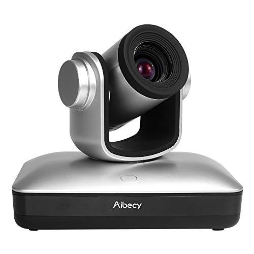 Aibecy Cámara de videoconferencia HD Cámara Full HD 1080P Enfoque automático Zoom óptico 10X con cable web USB 2.0 Control remoto para negocios Entrenamiento de grabación de reuniones en vivo
