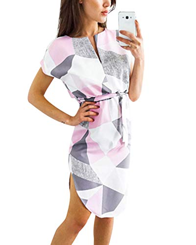 YOINS Damen Sommerkleid Lang V-Ausschnitt Maxikleider Strandkleid Strandmode, Rosa, Gr.- EU 40-42/ Herstellergröße- M