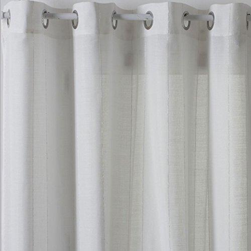 HomeMaison Voilage avec Jeu de Rayures, Polyester, Blanc, 240x140 cm